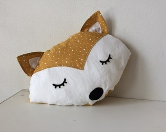 Mustard yellow Fox pillow