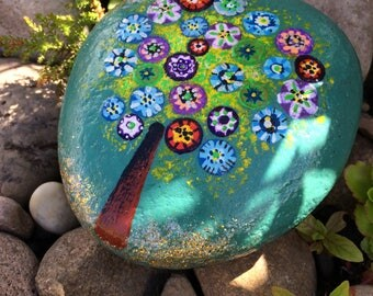 Hand painted tree pebble