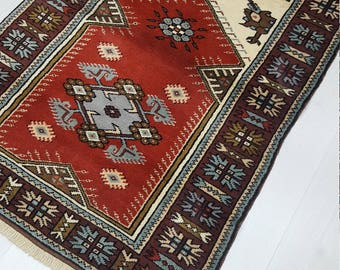 Small rug, Turkish rug, Oushak rug, Vintage rug, Door mat