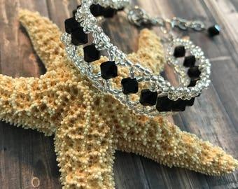 Black Beaded Cuff Bracelet