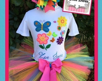 Flowers and butterflies tutu, flowers and butterflies birthday, Flowers and butterflies dress, flowers and butterflies embroidery,