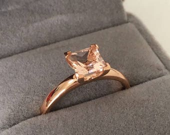 7mm Princess Cut Morganite and Moissanite Engagement Ring 14k Rose gold Heart Bezel Set