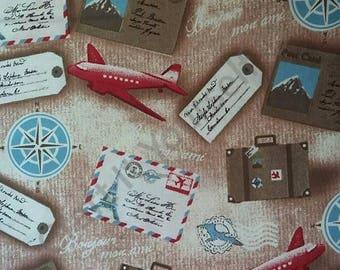 Travel 100% cotton fabric 44 inch / 110cm rain beige planes tickets