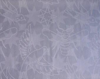 Makower Andover Flourish bird bee grey 100% cotton fabric 44 inch / 110cm