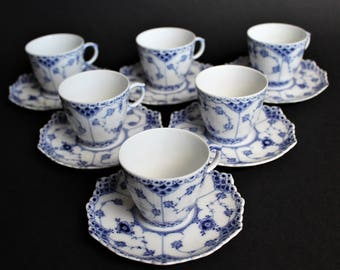Royal Copenhagen - Blue Fluted Full Lace # 1038 - Cup with Saucer - Excellent Condition - First Quality - Design by Arnold Krog