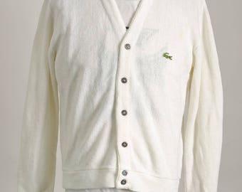 Vintage 1980's IZOD LACOSTE White Knit Cardigan Sweater Size M