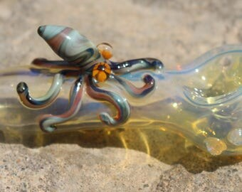 Glass Squid Octopus Spoon Pipe, Sea Creature,  Fumed, Unique, Glass Smoking Pipe, Critter Pipe