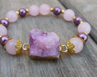 Druzy geode agate pink strech bracelet beaded with gemstone - pink quartz