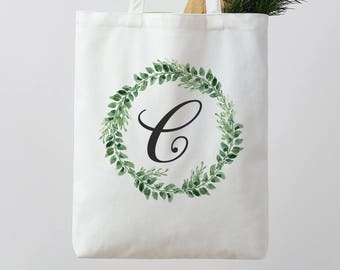 Bridesmaid Tote Bag Personalized Wedding Tote Bag Floral Tote Bag white beige Tote Bag monogrammed bag Canvas Tote Custom Tote bag