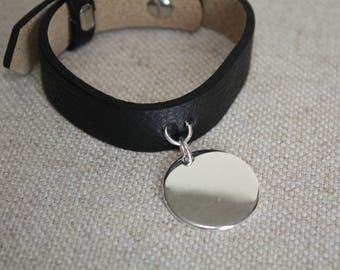 Cuff Bracelet in leather and silver plated Medal