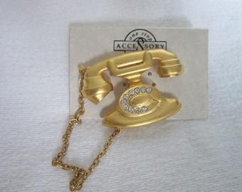 Brushed Gold Tone & Rhinestone Old Style Telephone Brooch Never used