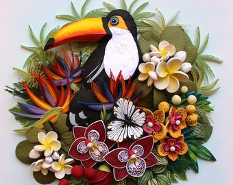 Toucan With Tropical Flowers
