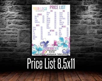 LLR Price List, Fashion Price Poster, 8,5x11, LLR Price Sign, for FAshion Consultants, wall sign, Flowers
