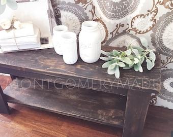 Entryway Bench Or Table, Scorched Cedar, Custom Orders, Burned Wood,  Handmade,