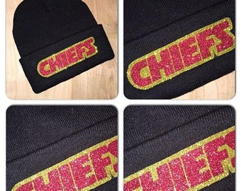 ON SALE Chiefs Bling Beanie | Kansas City Chiefs Glitter Beanie | Chiefs Glitter Skully