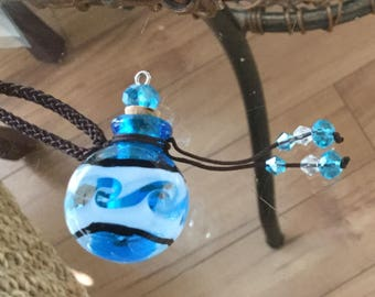 Cremation urn necklace murano glass also used for essential oil's,perfume,or  aromatherapy bottle