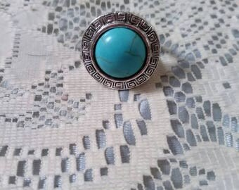Antique reproduction rings, rings, turquiose rings, silver tone rings, statement rings, size 6 rings, costume jewelry rings, costume jewelry