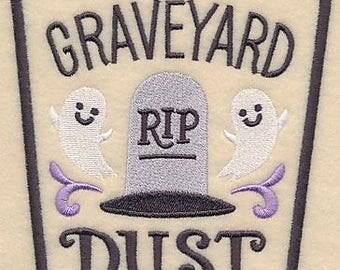 Halloween Apothecary - Graveyard Dust, Embroidered Halloween Tea Towel, Dish Towel, Halloween Kitchen Decoration, Kitchen Towel