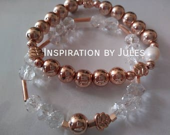 Duo of leaves in pink gold