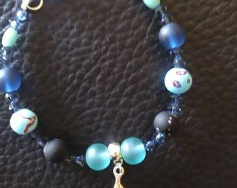 blue turquoise beads silver bracelet