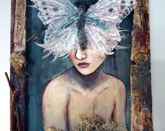 "Mixed media painting ""Butterfly Woman"""