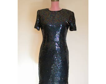 1990s Unworn Blue Sequined Dress