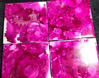 Hot Pink Alcohol Ink Coasters
