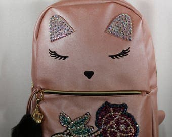 Back to school in bling kitty cat backpack
