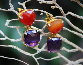 Earrings Naemi adorned with carnelian and Amethyst gold filled