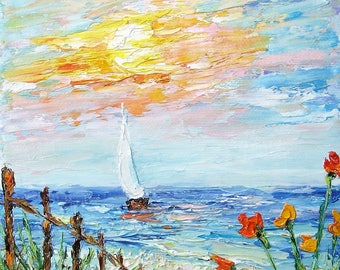 "Beach Painting original oil painting  5""x7"" canvas impressionism palette knife dunes boat sunset painting textured modern"