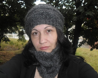 Hand-knit hat and scarf  warm wool hand-knit accessories Warm beanie Handmade Scarf and had