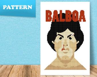 Rocky Balboa cross stitch pattern