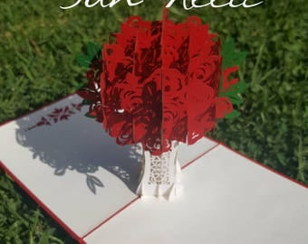 3D Rose Bouquet Laser Cut Pop Up Greeting & Gift Card for Valentine Anniversary Birthday Mother's day