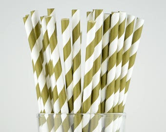 Gold Striped Paper Straws - Mason Jar Straws - Party Decor Supply - Cake Pop Sticks - Party Favor