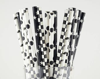 Black/White Paper Straw Mix - Stars/ Checkered/ Polka Dots/ Moustache - Chevron - Party Decor Supply - Cake Pop Sticks - Party Favor