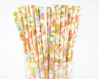 Flower Paper Straws - Mason Jar Straws - Party Decor Supply - Cake Pop Sticks - Party Favor