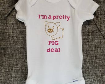 Baby clothing - baby onesies, farm animal onesies, I'm a pretty pig deal