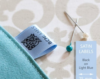BLACK ON BLUE Custom Printed Soft Satin Clothing Labels 25 mm / Care Labels / Sew in Fabric Labels