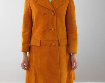 Vintage Burnt Orange Suede Trench Coat