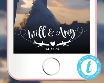 Wedding Snapchat Geofilter, EDITABLE TEMPLATE, Wedding Filter, travel themed Geofilter, travel Filter, travel Snapchat Filter
