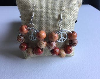 Wooden bead and peace sign earrings boho