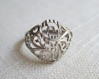 Sterling Silver Filigree Ring - Size 6 3/4