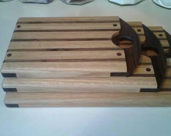 Set of cutting boards, oak and walnut cutting boards,