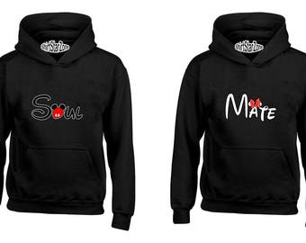 Couple Hoodies Soul and Mate, Soul-Mate Couples Cute Matching Love Couples Valentine's Day Gift
