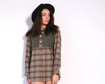 70s flannel shirt, flannel blouse