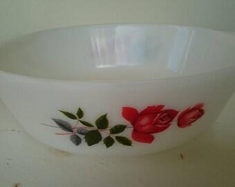 "J.A.J. milk glass casserole dish. ""June Rose"" design."