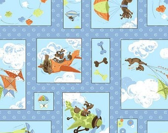 Zig the flying dog fabric by the yard, Susybee cotton, dog quilting cotton, dog patch quilting fabric, Susybee dog sewing fabric