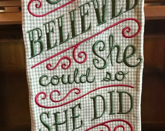 Plaid Linen Towel, Chalk Board Sayings, She Believed, Gifts Under 20 Dollars, Green, Red,  Cotton, Made in the USA, Kitchen, Home Decor