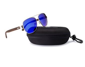 Polarized Blue Mirrored Aviators - Bamboo Arms - Wooden Sunglasses