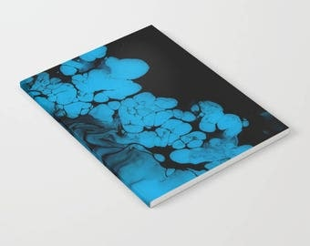 Personalized Original Abstract Acrylic Resin Artwork Print, Notebook Journal - Blue Darkness